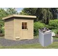 Saunahaus Woodfeeling Turmalin 3 inkl.9 kW Ofen u.integr.Steuerung ohne Vorraum mit Holztüre und Isolierglas wärmegedämmt