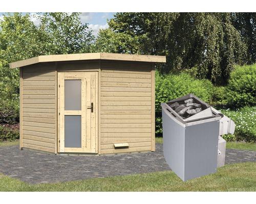 Saunahaus Karibu Rubin 3 inkl.9 kW Ofen u.integr.Steuerung mit Holztüre und Milchglas