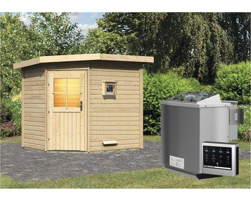 Saunahaus Woodfeeling Onyx 2 inkl.9 kW Bio Ofen u.ext.Steuerung ohne Vorraum mit Holztüre und Isolierglas wärmegedämmt
