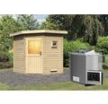 Saunahaus Woodfeeling Onyx inkl.9 kW Bio Ofen u.ext.Steuerung ohne Vorraum mit Holztüre und Isolierglas wärmegedämmt
