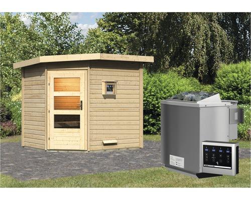 Saunhaus Karibu Rubin 2 inkl.9 kW Bio Ofen u.ext.Steuerung mit Holztüre und Klarglas