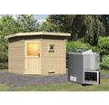 Saunahaus Woodfeeling Onyx 3 inkl.9 kW Bio Ofen u.ext.Steuerung ohne Vorraum mit Holztüre und Isolierglas wärmegedämmt