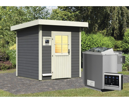 Saunahaus Woodfeeling Turmalin 2 inkl.9 kW Bio Ofen u.ext.Steuerung ohne Vorraum mit Holztüre und Isolierglas wärmegedämmt