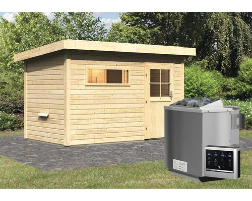 Saunahaus Woodfeeling Aplit 1 inkl.9 kW Bio Ofen u.ext.Steuerung mit Vorraum und Fenster mit Holztüre und Isolierglas wärmegedämmt
