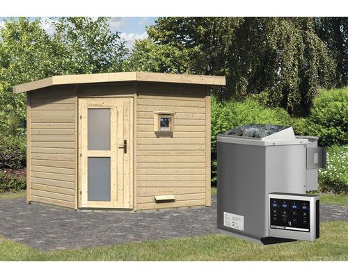 Saunahaus Karibu Rubin 3 inkl.9 kW Bio Ofen u.ext.Steuerung mit Holztüre und Milchglas