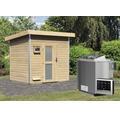Saunahaus Karibu Opal 4 inkl.9 kW Bio Ofen u.ext.Steuerugn mit Holztüre und Milchglas