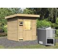 Saunahaus Woodfeeling Tumalin 2 inkl. 9 kW Bio Ofen u.ext.Steuerung ohne Voraum mit Holztüre und Isolierglas wärmegedämmt
