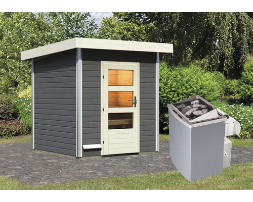 Saunahaus Karibu Opal 2 inkl.9 kW Ofen u.integr.Steuerung mit Holztüre und Klarglas anthrazit/weiß