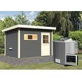 Saunahaus Woodfeeling Aplit 2 inkl.9 kW Bio Ofen u.ext.Steuerung mit Vorraum und Holztüre mit Isolierglas wärmegedämmt anthrazit/weiß