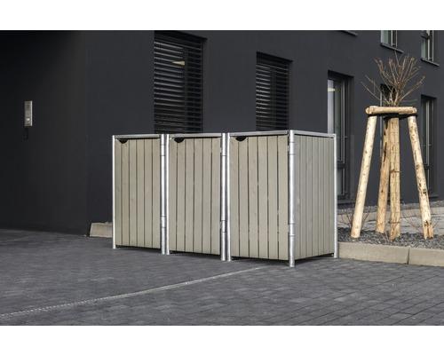 Mülltonnenbox HIDE Holz 182x63,4x115,2 cm grau
