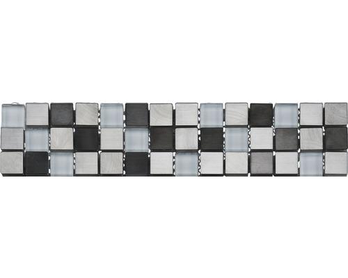 Glasbordüre GL-52600 weiß-Metal-mix 5,9x30,5 cm