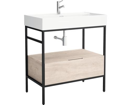 Waschtisch-Metall-Gestell Cygnus Bath Brooklyn 80x72,2x46 cm schwarz/Eiche ohne Waschbecken