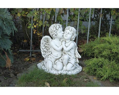 Grabdeko Engelspaar H 32 cm weiß