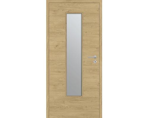 Innentüre DONAU Soft Plus stumpf natura eiche quer inkl. Lichtausschnitt klein (ohne Glas) 92,2x201,6 cm links