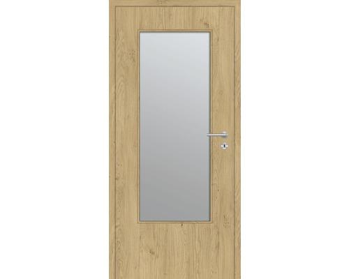 Innentüre DONAU Soft Plus stumpf natura eiche längs inkl. Lichtausschnitt groß (ohne Glas) 82,2x201,6 cm links