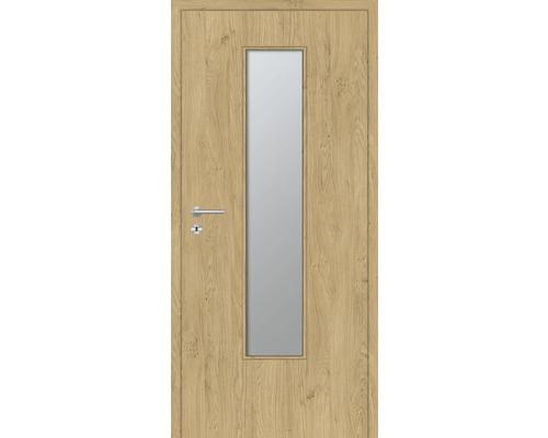 Innentüre DONAU Soft Plus stumpf natura eiche längs inkl. Lichtausschnitt klein (ohne Glas) 77,2x201,6 cm rechts