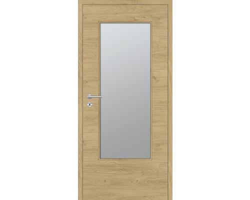 Innentüre DONAU Soft Plus stumpf natura eiche quer inkl. Lichtausschnitt groß (ohne Glas) 77,2x201,6 cm rechts