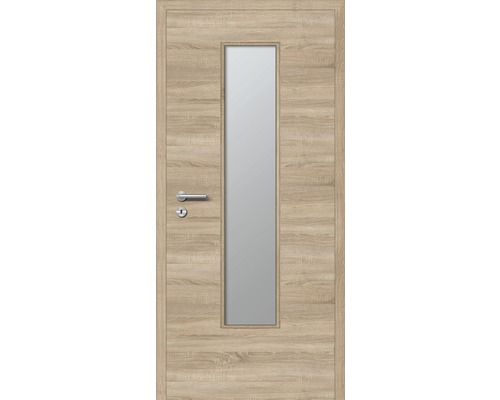 Innentüre DONAU Soft Plus stumpf eiche quer inkl. Lichtausschnitt (ohne Glas) 92,2x201,6 cm rechts