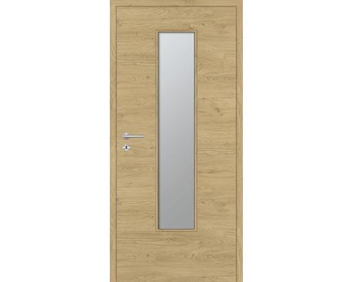 Innentüre DONAU Soft Plus stumpf natura eiche quer inkl. Lichtausschnitt klein (ohne Glas) 82,2x201,6 cm rechts