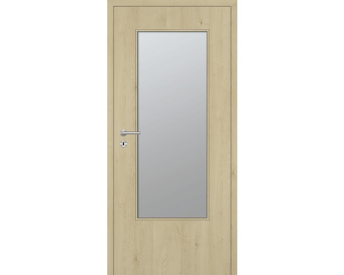 Innentüre DONAU Soft Plus stumpf natura ahorn längs inkl. Lichtausschnitt (ohne Glas) 87,2x201,6 cm rechts