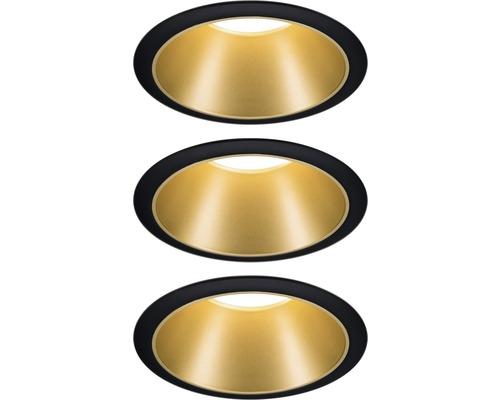 LED Einbauleuchten-Set IP44 dimmbar 3x6,5W 3x460 lm 2700 K warmweiß Cole schwarz gold Ø 80/88 mm 230V 3 Stück