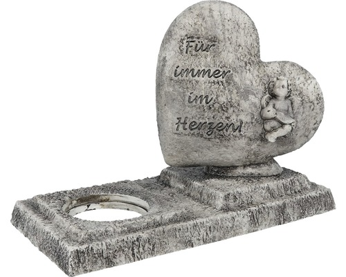 Herzskulptur mit Kerzenhalterung 26x13x18,5 cm grau