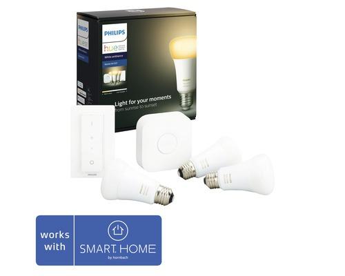 Philips hue Starter-Set Licht White Ambiance dimmbar weiß 3x E27 9,5W 806 lm 2200K-6500 K inkl. 3 Lampen, Bridge, Netzteil, LAN-Kabel und Dimmschalter - Kompatibel mit SMART HOME by hornbach