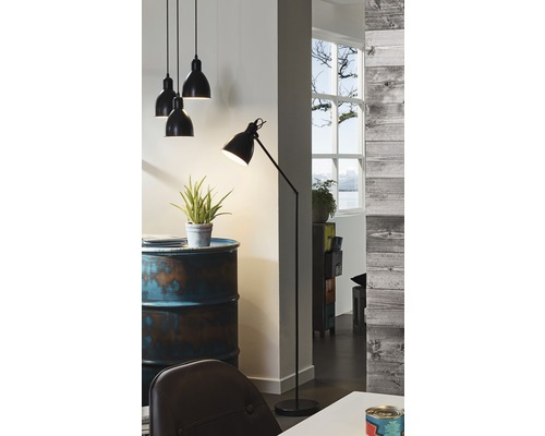 Stehlampe Priddy schwarz/weiß mit Fußschalter schwenkbar H 1370 mm