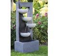 Gartenbrunnen mit LEDs und 4 Schalen 40x25x92 cm Kunststein grau inkl. Schlauch und Pumpe