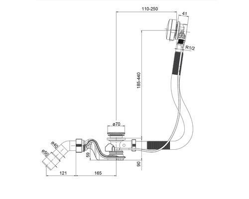 Luxus Ab- und Überlaufgarnitur Ottofond mit Wasserinlauffunktion und Drehexcenterbetätigung