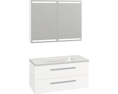 Badmöbel-Set Scanbad Delta 176x100,2x45 cm weiß matt rahmen
