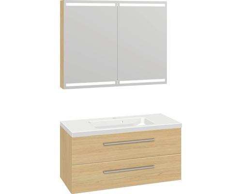 Badmöbel-Set Scanbad Delta 176x100,2x45 cm Nordische Eiche