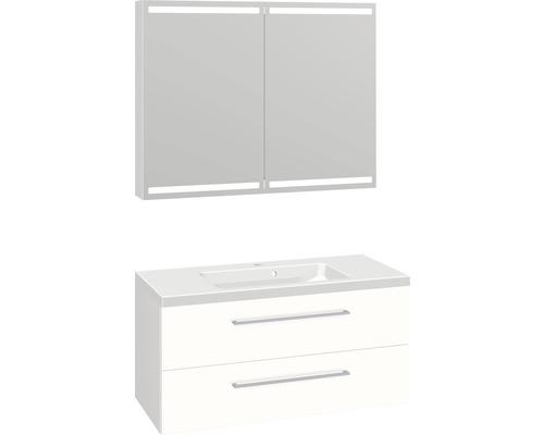 Badmöbel-Set Scanbad Delta 176x100,2x45 cm weiß hochglanz