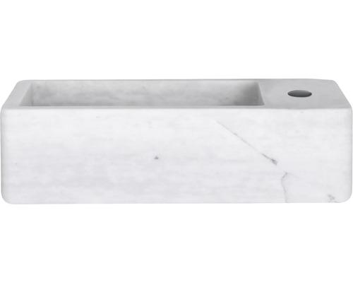 Handwaschbecken Hura L 40x22 cm Marmor weiß