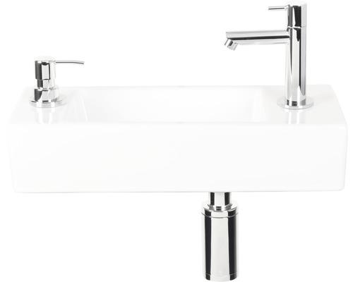 Handwaschbecken-Set Sapon 40x18 cm weiß inkl. Waschtischarmatur, Siphon und Seifenspender chrom