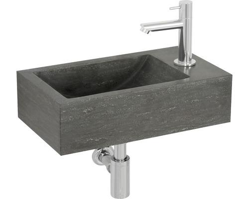 Handwaschbecken-Set Tarn 40x23 cm Naturstein grau inkl. Waschtischarmatur und Siphon chrom