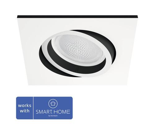 Philips hue LED Einbauspot RGB dimmbar 6,5W 350 lm RGB-Farbwechsler warmweiß-tageslichtweiß Centura weiß eckig 90/90 mm - Kompatibel mit SMART HOME by hornbach
