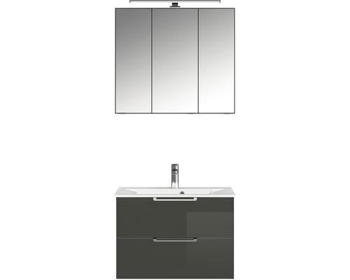 Badmöbel-Set Pelipal Xpressline 3065 200x80,8x44,7 cm Glas grau mit Spiegelschrank