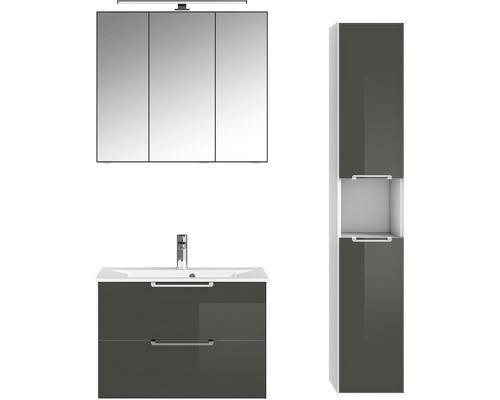 Badmöbel-Set Pelipal Xpressline 3065 200x111,2x44,7 cm Glas grau mit Spiegelschrank und Hochschrank