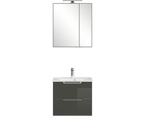 Badmöbel-Set Pelipal Xpressline 3065 200x63,6x44,7 cm Glas grau mit Spiegelschrank