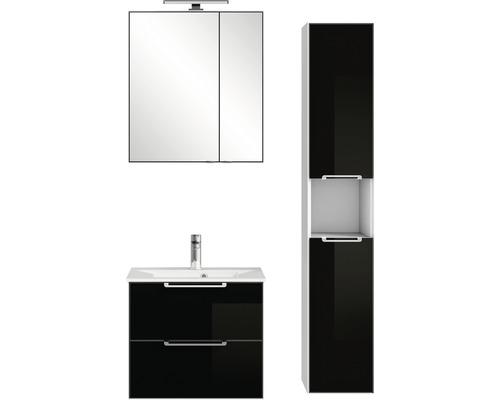 Badmöbel-Set Pelipal Xpressline 3065 200x94x44,7 cm Glas schwarz mit Spiegelschrank und Hochschrank