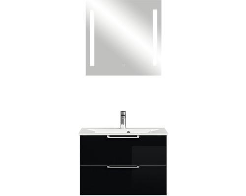Badmöbel-Set Pelipal Xpressline 3065 200x76,8x44,7 cm Glas schwarz mit Spiegel