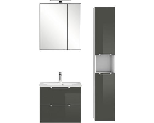 Badmöbel-Set Pelipal Xpressline 3065 200x94x44,7 cm Glas grau mit Spiegelschrank und Hochschrank