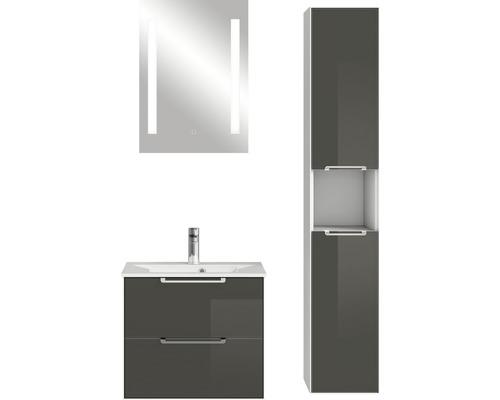 Badmöbel-Set Pelipal Xpressline 3065 200x92,2x44,7 cm Glas grau mit Spiegel und Hochschrank