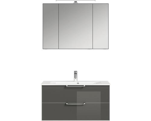 Badmöbel-Set Pelipal Xpressline 3065 200x102,4x44,7 cm Glas grau mit Spiegelschrank