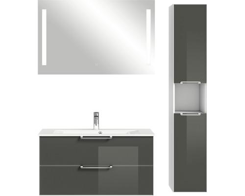 Badmöbel-Set Pelipal Xpressline 3065 200x132,2x44,7 cm Glas grau mit Spiegel und Hochschrank