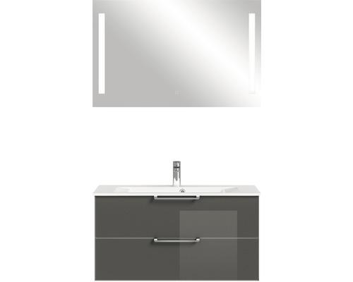 Badmöbel-Set Pelipal Xpressline 3065 200x101,8x44,7 cm Glas grau mit Spiegel
