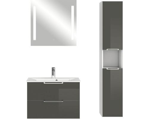 Badmöbel-Set Pelipal Xpressline 3065 200x107,2x44,7 cm Glas grau mit Spiegel und Hochschrank