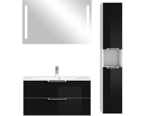 Badmöbel-Set Pelipal Xpressline 3065 200x132,2x44,7 cm Glas schwarz mit Spiegel und Hochschrank