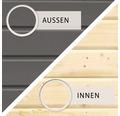 Saunahaus Woodfeeling Aplit 1 ohne Ofen mit Vorraum und Holztüre mit Isolierglas wärmegedämmt anthrazit/weiß